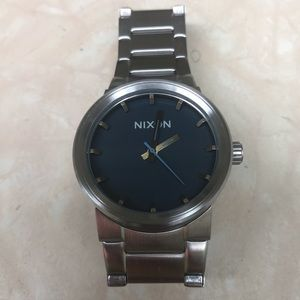 """Nixon """"The Cannon"""" Silver and Blue Men's Watch"""
